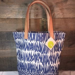 See Design Blue & White Leather Handle Square Tote